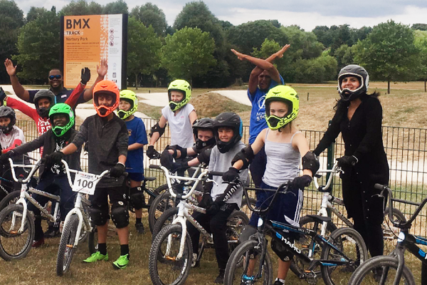 The Power of the Pen; local primary school children visit the BMX track their letters of support helped to build.
